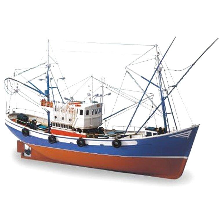 11260 Figurine Maquette Reproduction Chalutier Bateau Peche Marine Mer